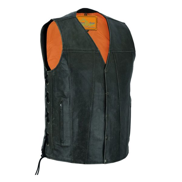 Men's Gray Motorcycle Vest Side Laces, Snap Front