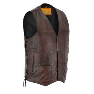en Pocket Brown Premium Naked Cowhide Leather Riding Vest side laces & gun pocket