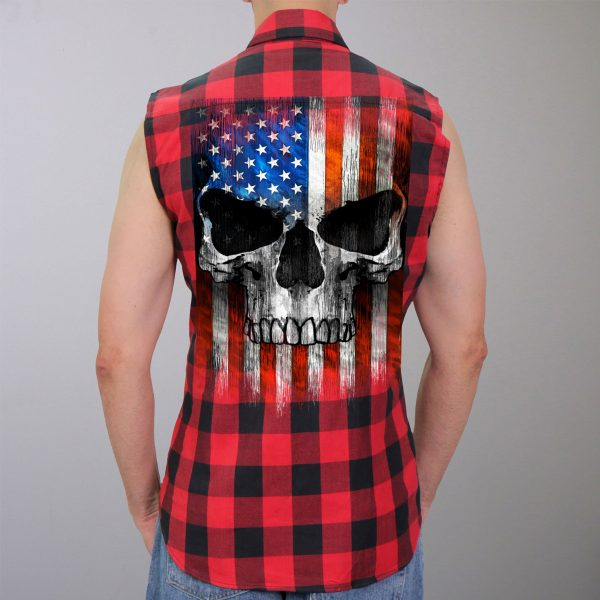 Hot Leathers Flannel Patriot Skull Vest