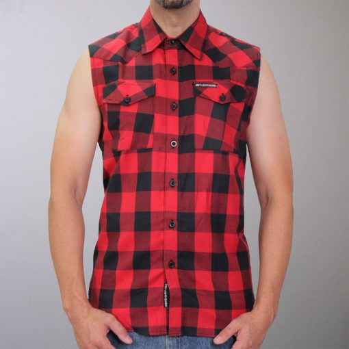 Hot Leathers Black & Red Sleeveless Flannel Shirt