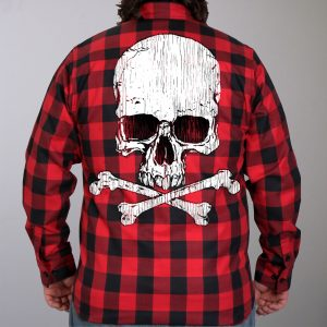 Hot Leathers Flannel Long Sleeve Skull Bones