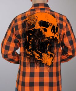 Hot Leathers Flannel Long Sleeve Ancient Skull