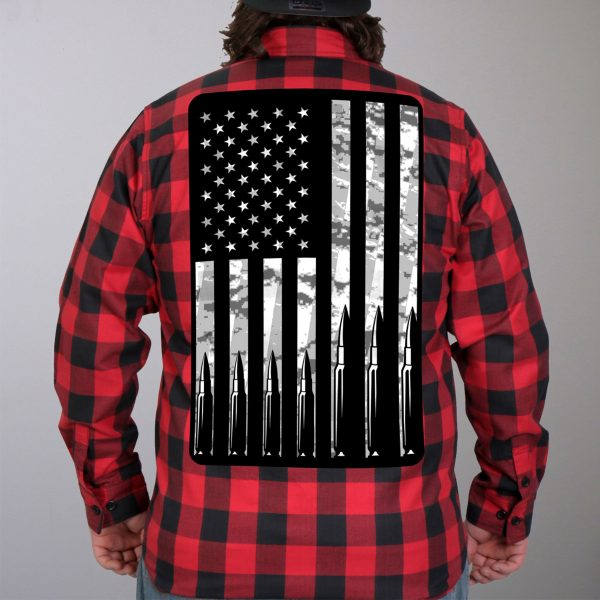 Hot Leathers Flannel Long Sleeve Flag Bullets
