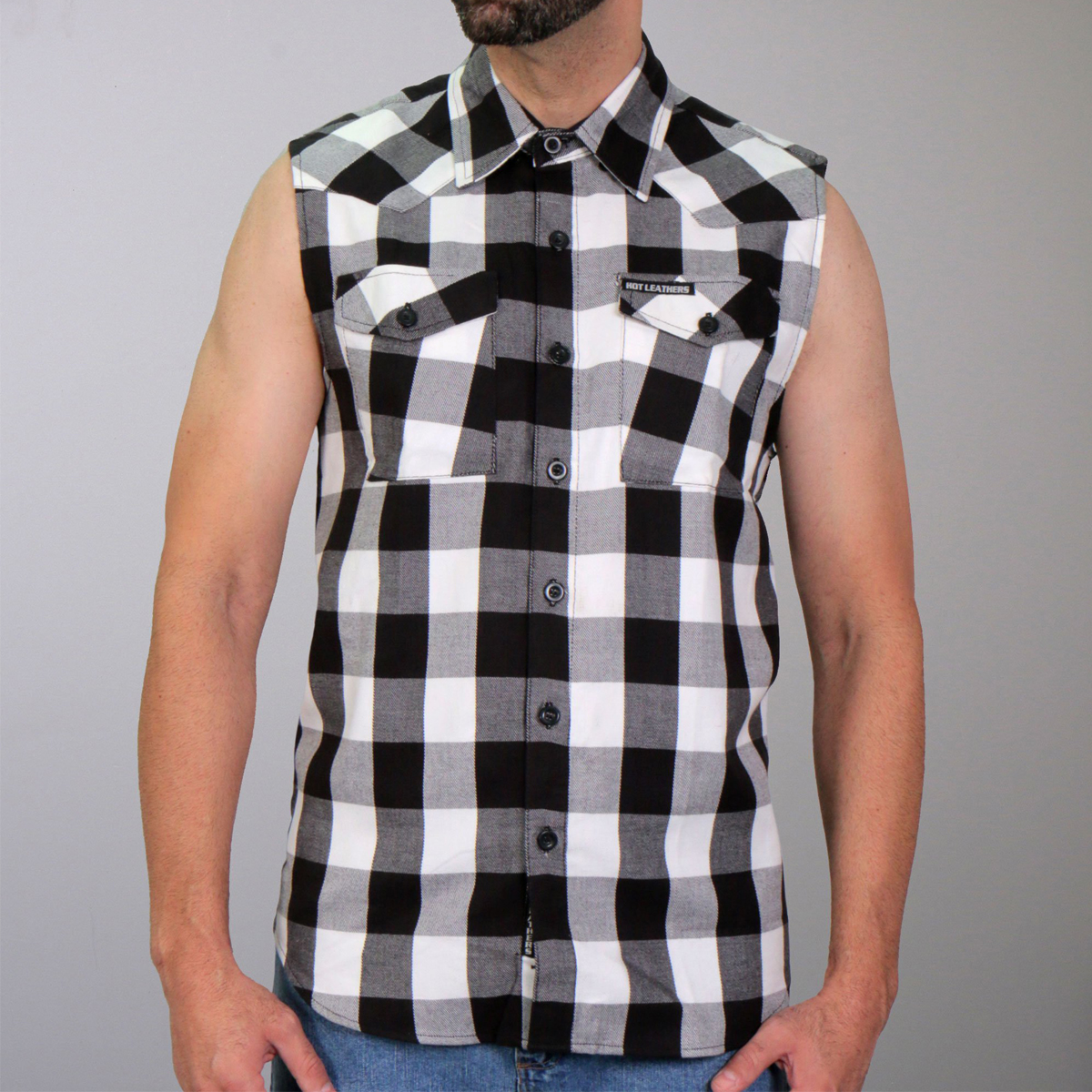 Hot Leathers Sleeveless Flannel White & Black