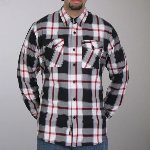 Hot Leathers Black White And Red Long Sleeve Flannel