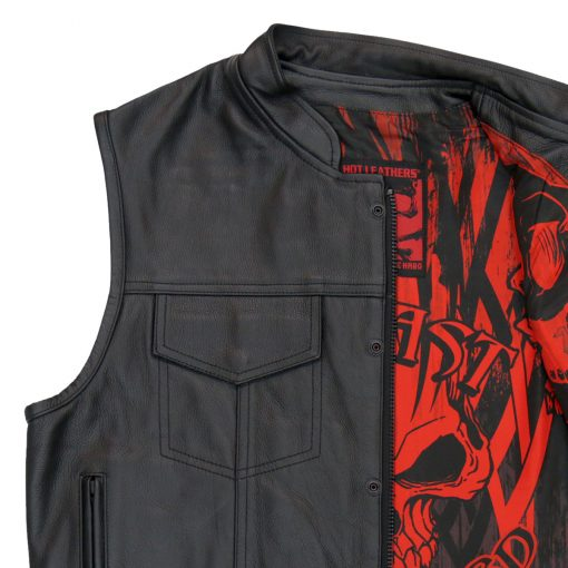 Hot Leathers Vest Over The Top Skull Liner Carry Conceal