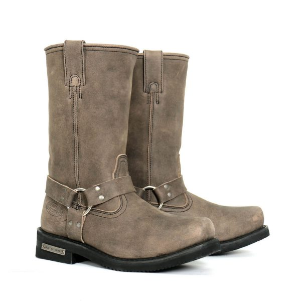 """Hot Leathers Men's 11"""" Tall Harness Boots Stone Wash Brown"""
