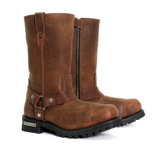"""Hot Leathers Men's 11"""" Harness Boots Russet Brown"""