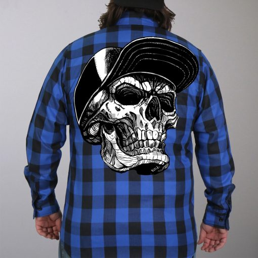 Hot Leathers Flannel Long Sleeve Snap Back Skull