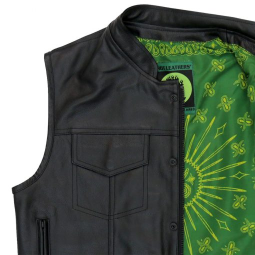Hot Leathers Vest Paisley Green Liner Carry Conceal
