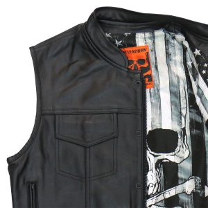 Hot Leathers Vest Skull Flag Liner Carry Conceal