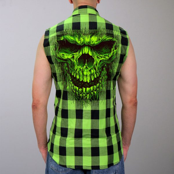 Hot Leathers Flannel Shredder Skull Vest