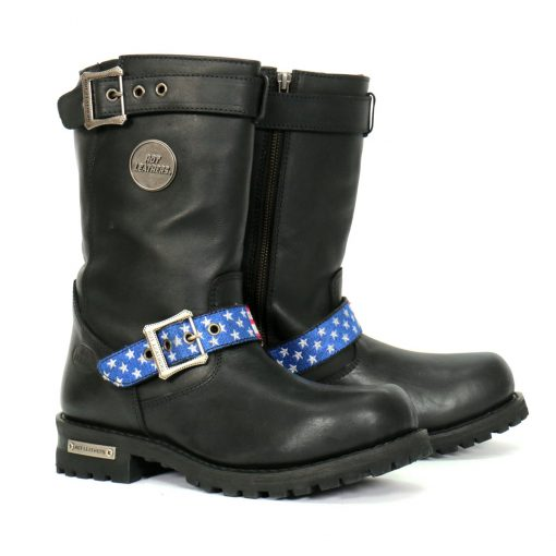 Hot Leathers Tall Round Toe Harness Flag St