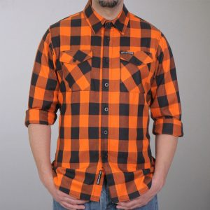Hot Leathers Orange And Black Long Sleeve Flannel