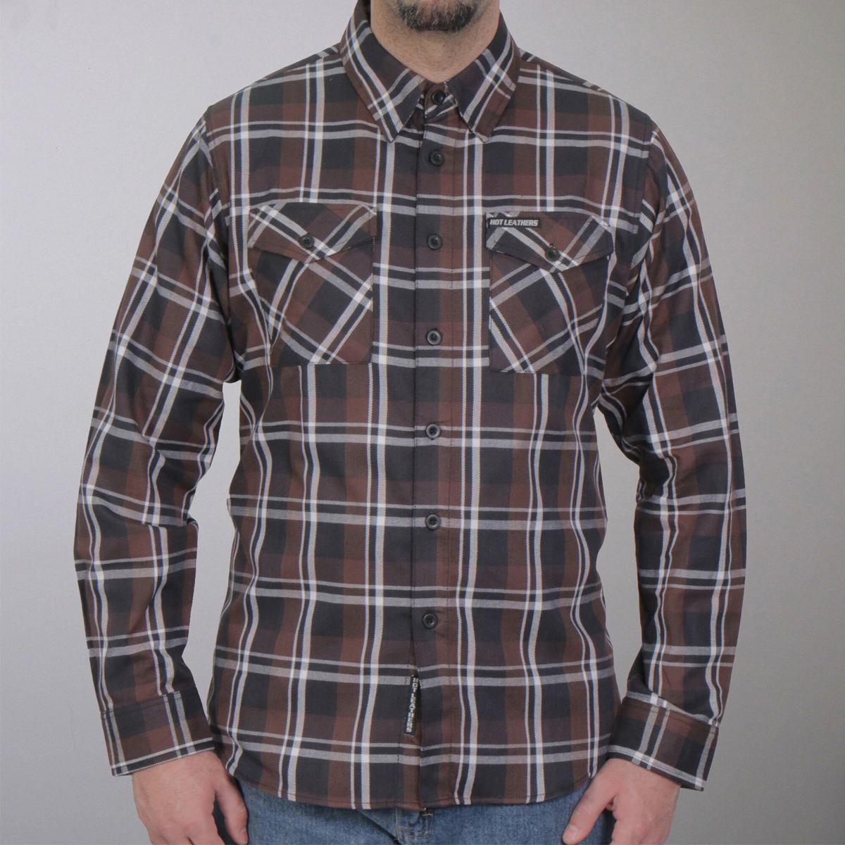 Hot Leathers Brown Black And White Long Sleeve Flannel