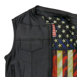 Hot Leathers Vest Vintage Flag Liner Carry Conceal